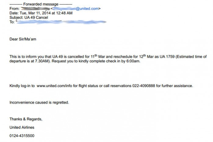 United Cancel Note