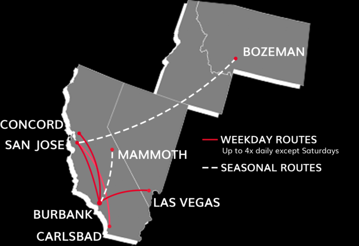 JetSuiteX Route Map