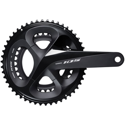 Shimano CrankSet, FC-R7000, 105, for Rear 11-Speed, HollowTECH 2, 175MM, 53-39T w/o Chain Guard, w/o BB, Black