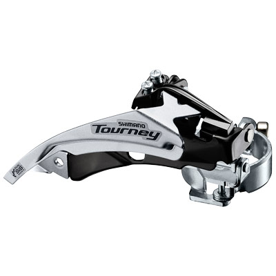 Shimano Front Derailleur, FD-TY500-TS6, TOURNEY, Top-Swing, DUAL-Pull, for Rear 6/7-Speed,Band Type 34.9MM(w/S & M Adapter),CS Angle:66-69, for 42T,CL:47.5/50MM