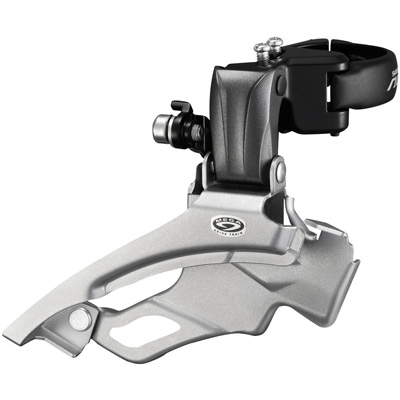 Shimano Front Derailleur, FD-M371, Altus, Down-Swing DUAL-Pull, for Rear 9 Speed, Band Type 34.9MM(w/31.8 & 28.6MM ADPT) for 44/48TCS-Angle:66-69, CL:50MM