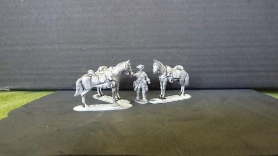 British Dragoon Horse holder and three horses