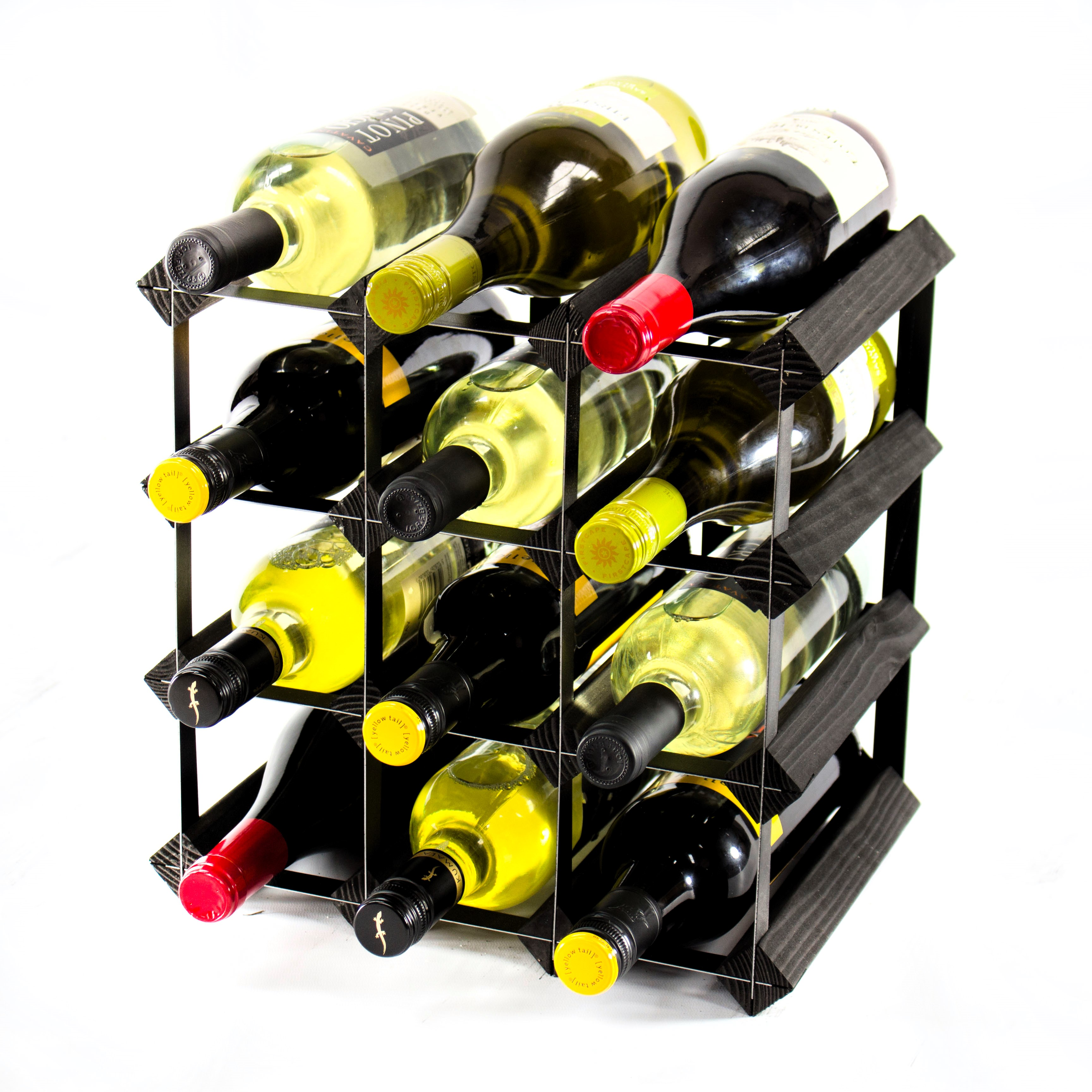 classic 12 bottle black stained wood and black metal wine rack ready assembled