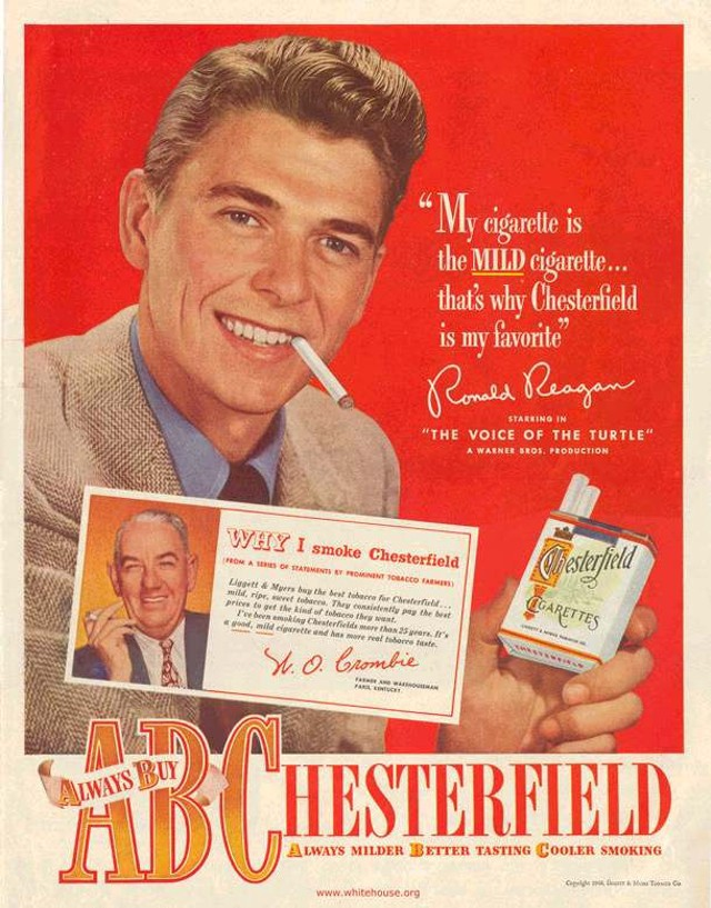 A Ronald Reagan ad for Chesterfield cigarettes, extolling the brand as 'mild' and 'my favorite.'