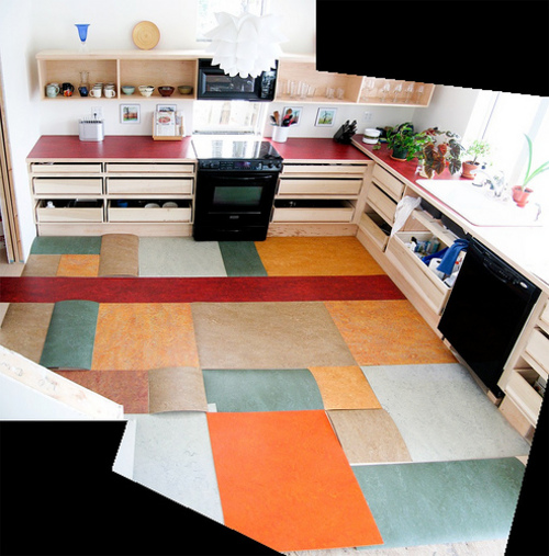 Patchwork kitchen floor made from Marmoleum ends / Boing Boing