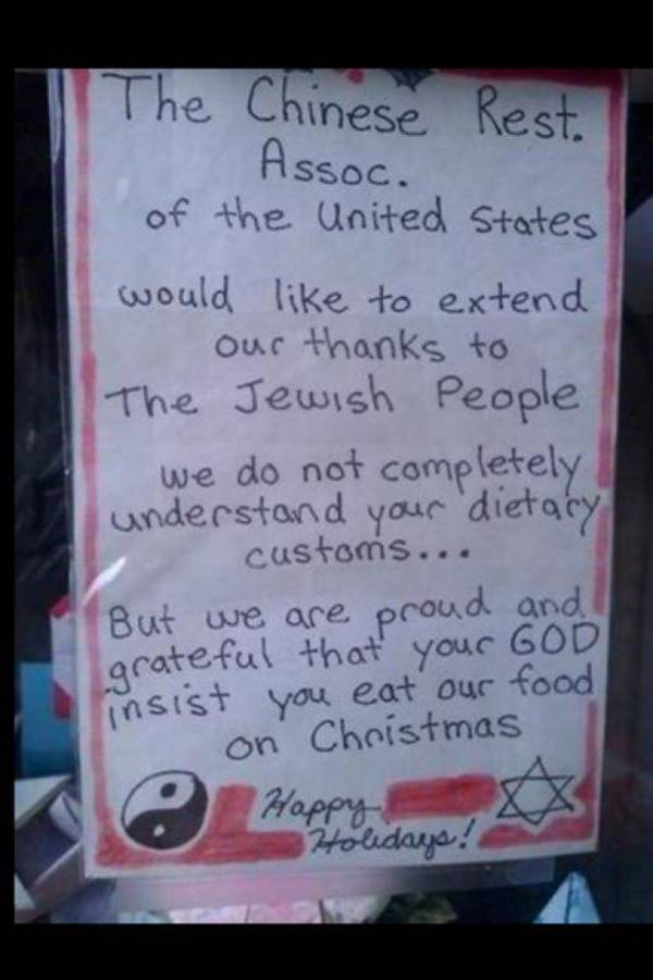 Chinese restaurant sign thanks Jews for eating there on Christmas ...