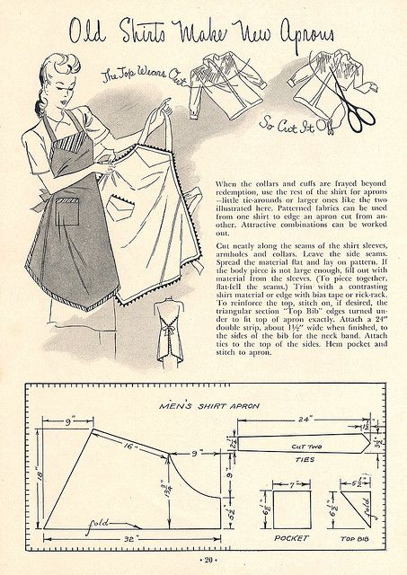 A page from MEND AND MAKE DO describing how to make an apron from a worn-out men's shirt.
