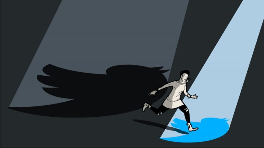 Consumer Reports' illustration for my story 'Inside the Clock Tower,' depicting a woman running between searchlight circles, casting a shadow of the Twitter logo.