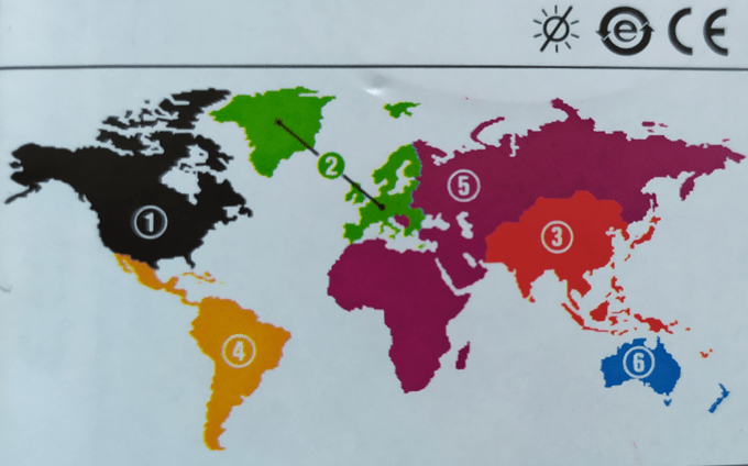 Lexmark's region map for ink cartridges, dividing the Earth into six regions.