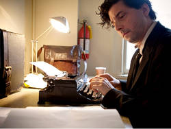 Skye Ferrante at his typewriter - now banned from the Writers Room