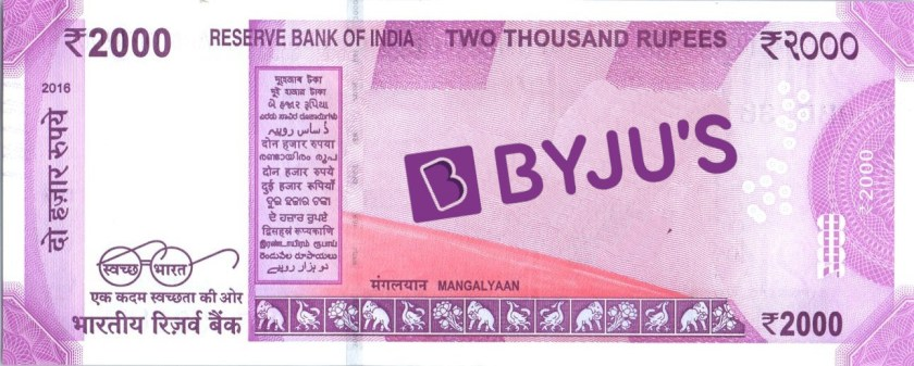 The obverse of the Indian 2000 rupee note, with the Mangalyaan orbiter replaced by the Byju's logo.