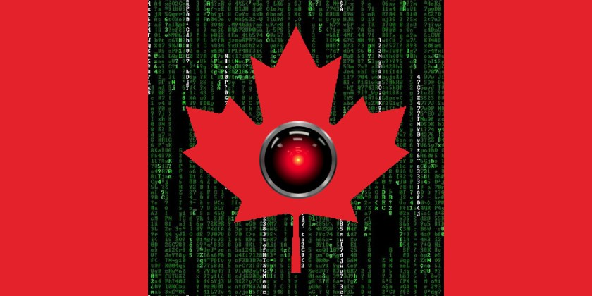 The Canadian flag; in the centre of the maple leaf is the glowing red eye of HAL9000; the white field has been replaced by a Matrix 'code waterfall' effect.