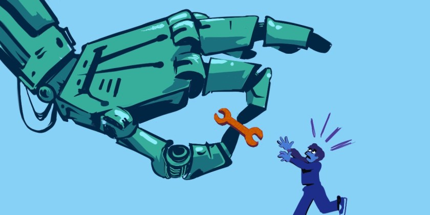 A giant robot hand holds a monkey wrench, a human is jumping for it.