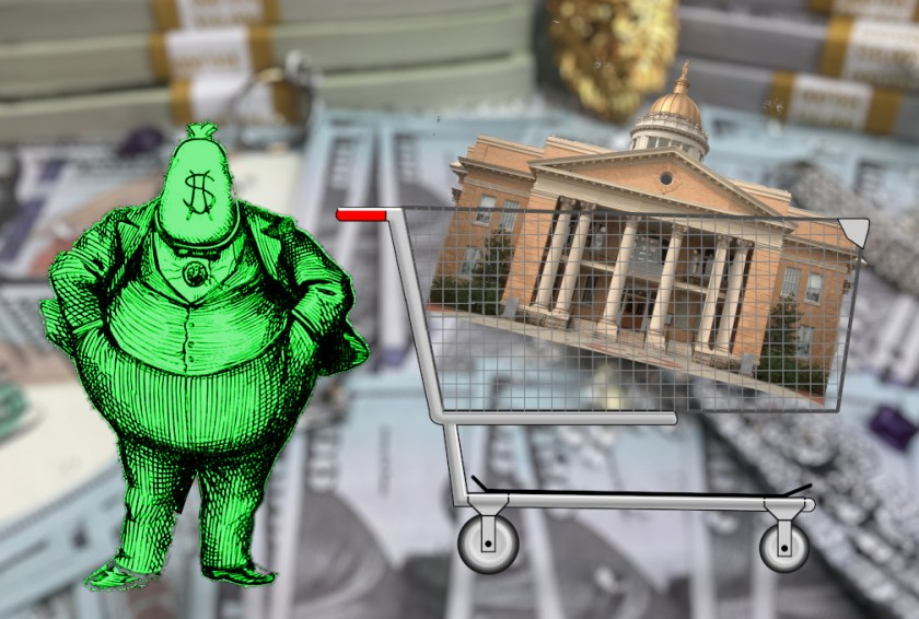 A courthouse in a grocery trolley; standing next to it is a 'fat cat' caricature from a Gilded Age newspaper cartoon. In place of a head, he has a sack emblazoned with a dollar symbol. The collage is placed on a blurred background of stacks of $100 bills and jewelry.