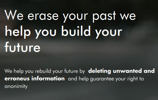 The Eliminalia splashpage, reading We erase your past and help you build your future.