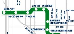 Anagram transit maps for Miami (x2), Dublin, Ontario, Dallas ...