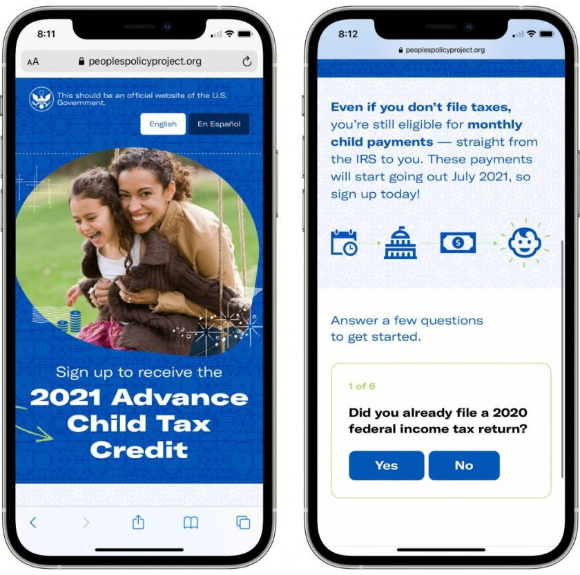 Mobile view of the People's Policy Project's alternative CTC signup site.