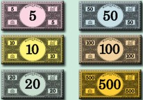 hasbro has released high rez printable pdfs of monopoly money great stuff especially if youre playing a cheapass game that needs currency tokens