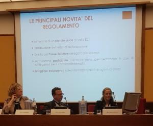 I moderatori della sessione pomeridiana dell'evento annuale AICRO. Da sinistra, Marie-Georges Besse, Marco Scatigna e Antoinette van Dijk.