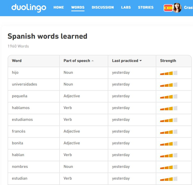 Duolingo review: word lists