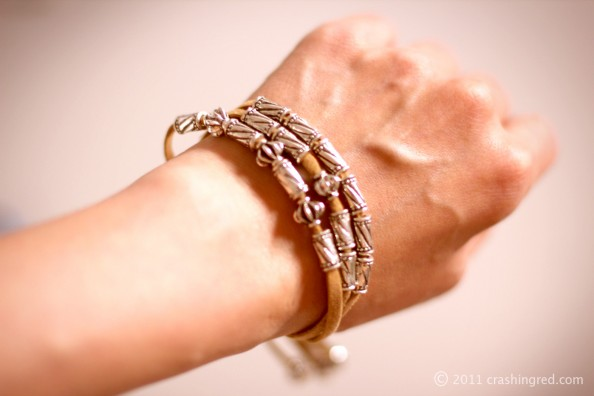 leather stap bracelet silver beads how to do it yourself DIY blog australia 594x396 DIY leather and bead bracelet