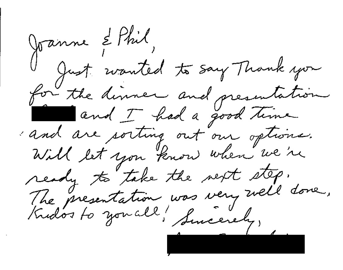 Thank You Letter to Phil Cannella and Joann Small