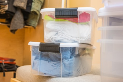 storage, clothing, seasonal, winter, summer, plastic crate, storage solution, clutter free