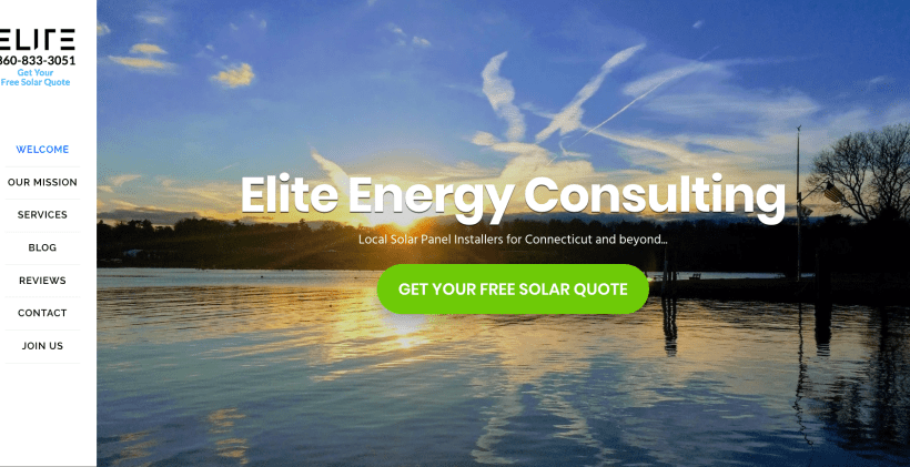 Elite Solar's website homepage