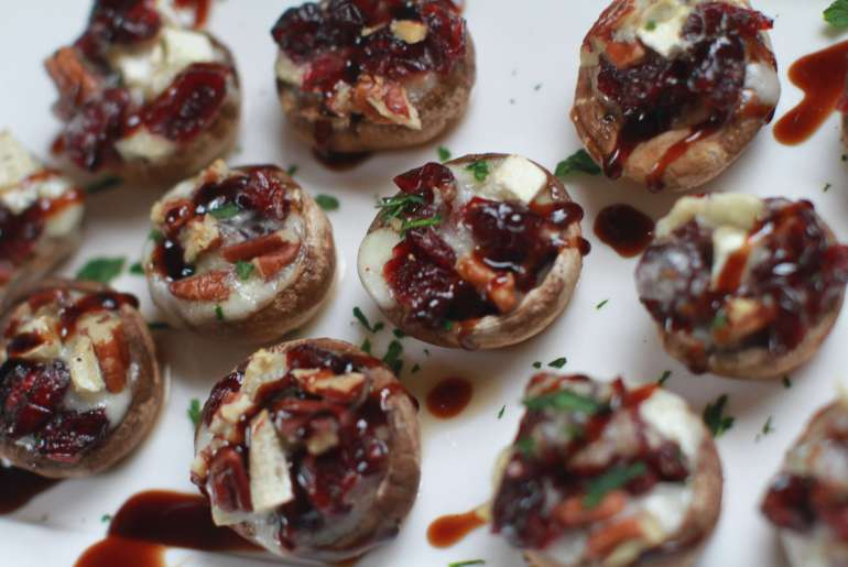 Brie, cranberry and pecan stuffed mushrooms holiday appetizer-2