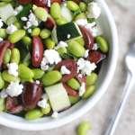 Edamame, olive salad