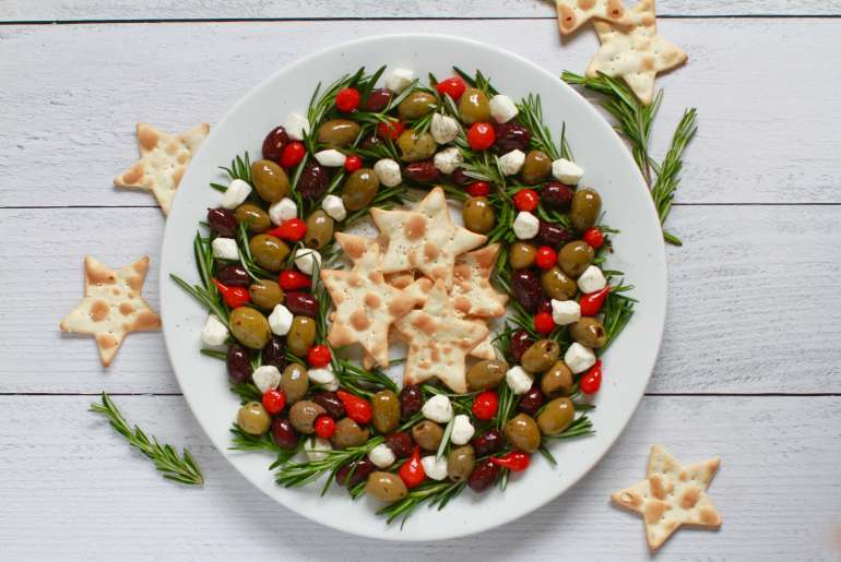 Festive olive wreath holiday appetizer