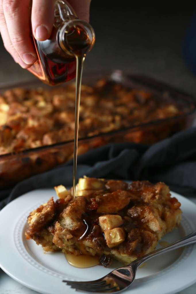 Overnight apple cinnamon raisin french toast casserole
