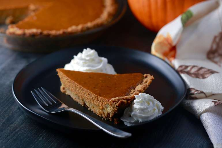 pumpkin pie with pecan sandy crust