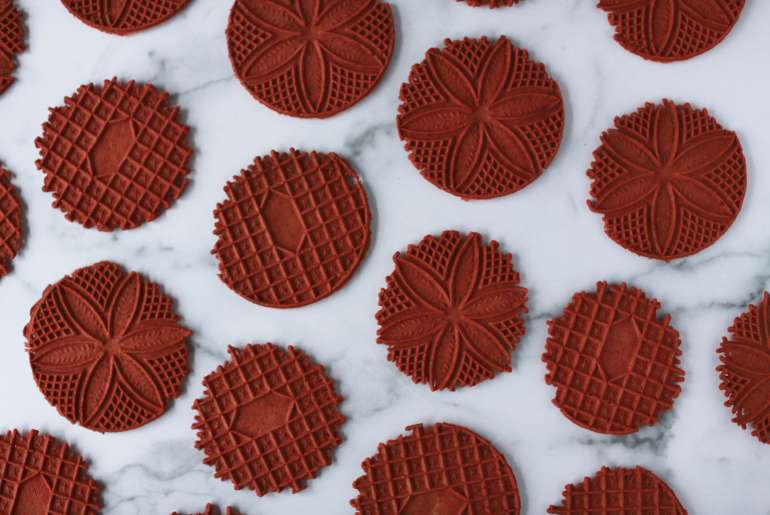 Red velvet pizzelle are a perfect cookie for February