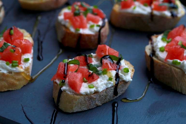 Watermelon and whipped feta bruschetta bites