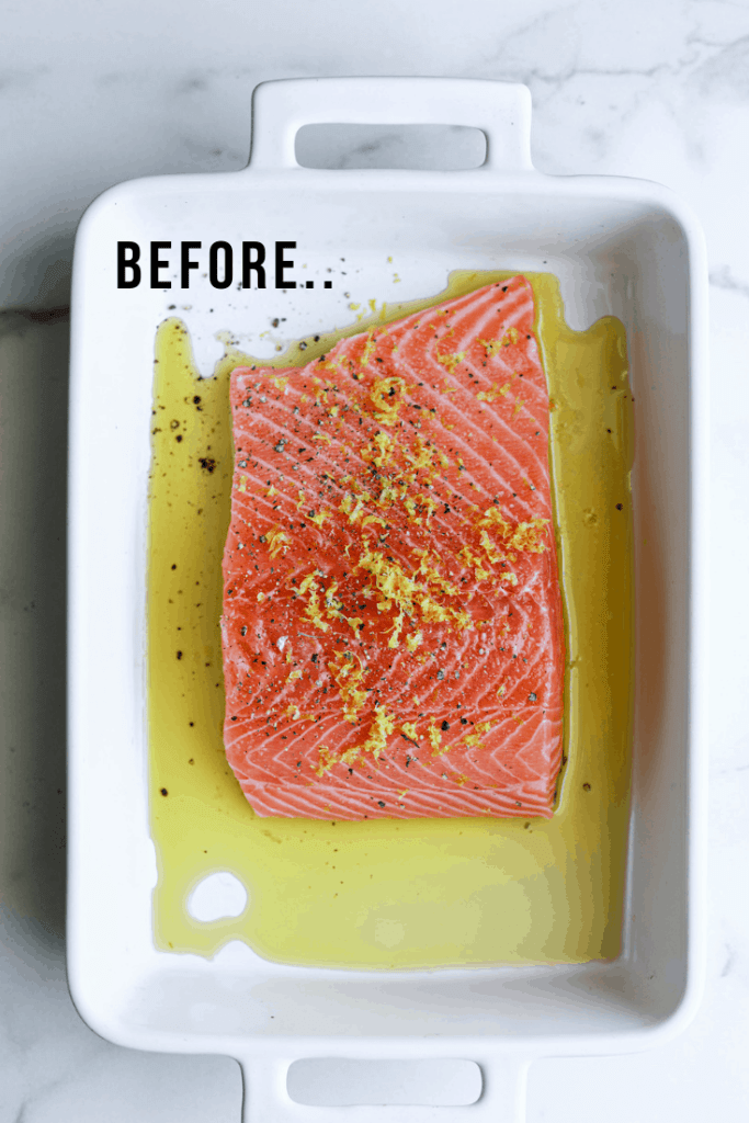 Raw salmon in a baking dish seasoned with olive oil and lemon zest.
