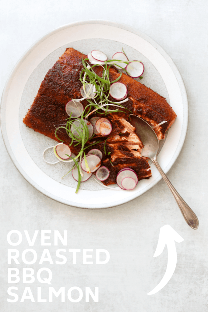 Oven Roasted BBQ Salmon Salad with Avocado Ranch Dressing