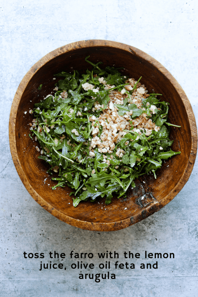 Farro and Arugula Salad in a Wooden Mixing Bowl
