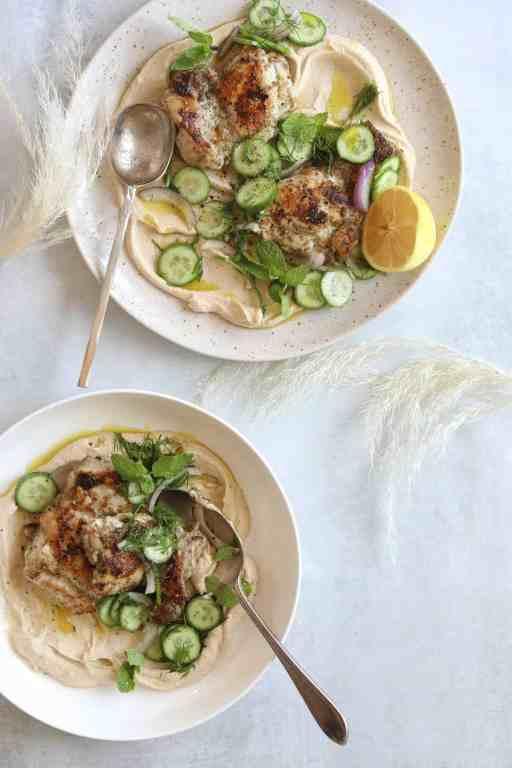 Two Za'atar Chicken and Hummus Bowls