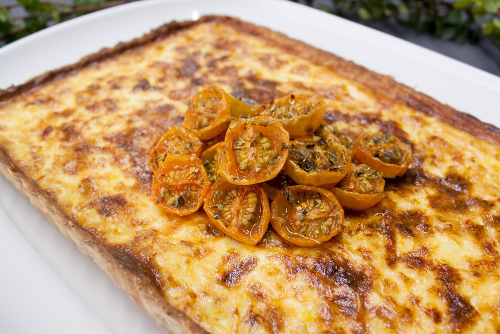Whole wheat leek quiche with confit cherry tomatoes