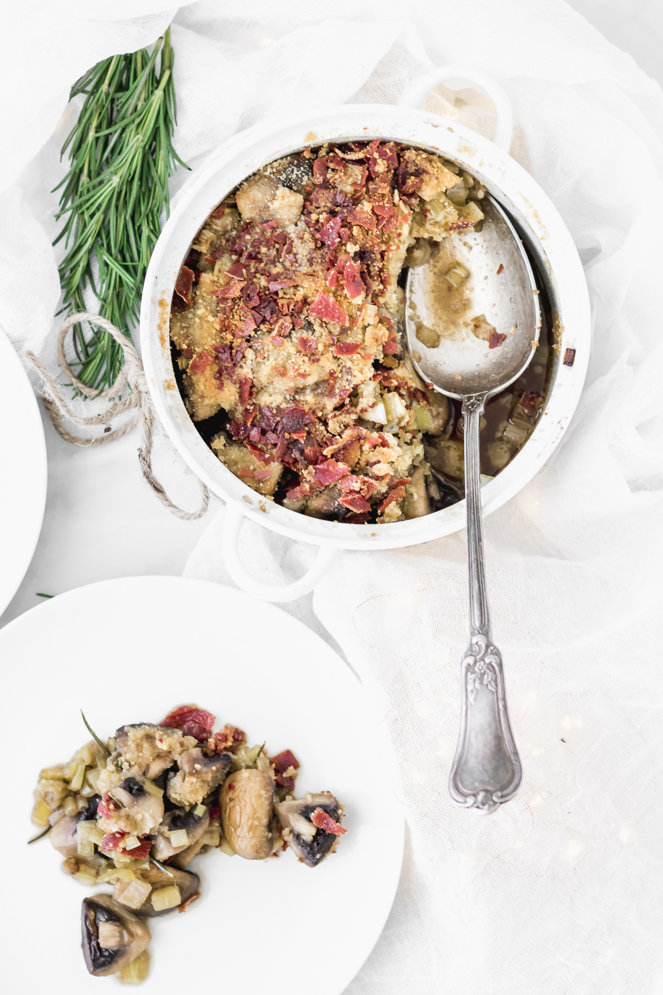 Leek and Mushroom Casserole with Crispy Serrano Ham
