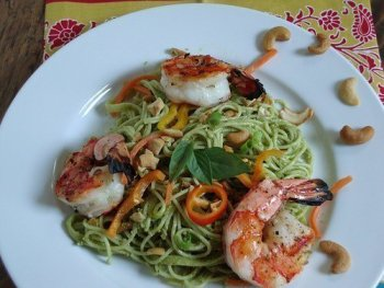 Grilled Shrimp and Pasta With Thai Basil Pesto Craving Something Healthy