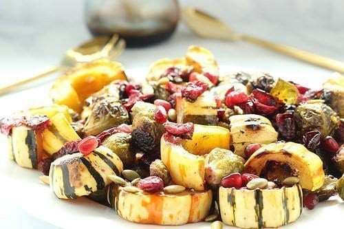 Roasted Brussels Sprouts, Delicata Squash and Cranberries with Balsamic Syrup | Craving Something Healthy