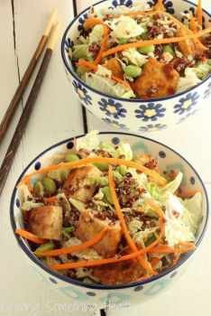 Sesame Tofu Chopped Salad with Red Quinoa Craving Something Healthy