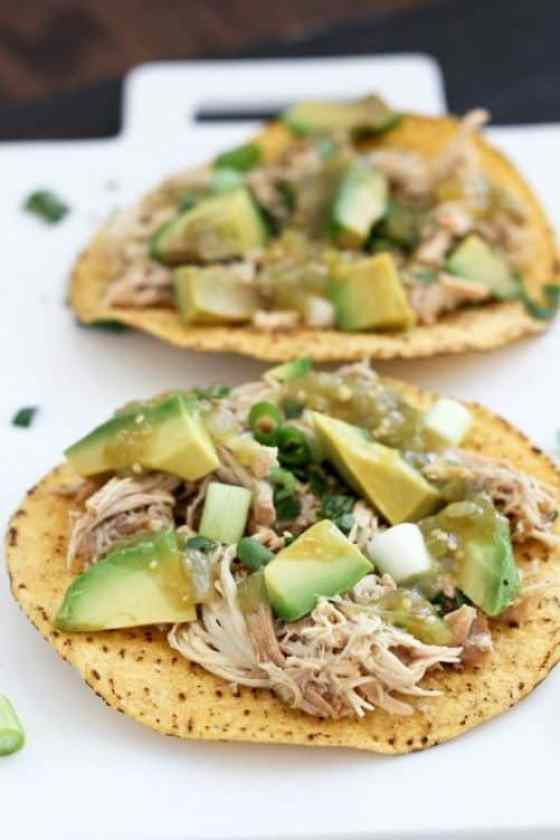 Slow Cooker Verde Chicken Tostadas|Bake Your Day