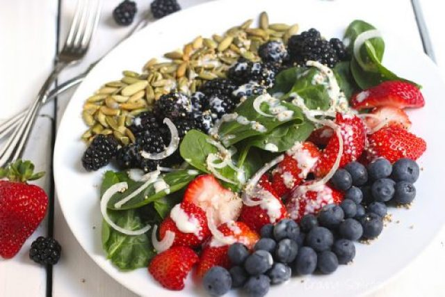 Very Berry Spinach Salad with Popped Quinoa and Citrus Yogurt Dressing|Craving Something Healthy