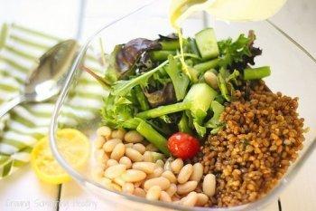 Beans Greens and Grains with Lemon Basil Vinaigrette|Craving Something Healthy