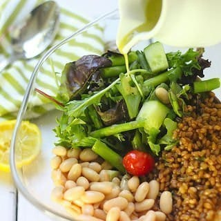 Beans, Greens and Grains With Lemon Basil Vinaigrette
