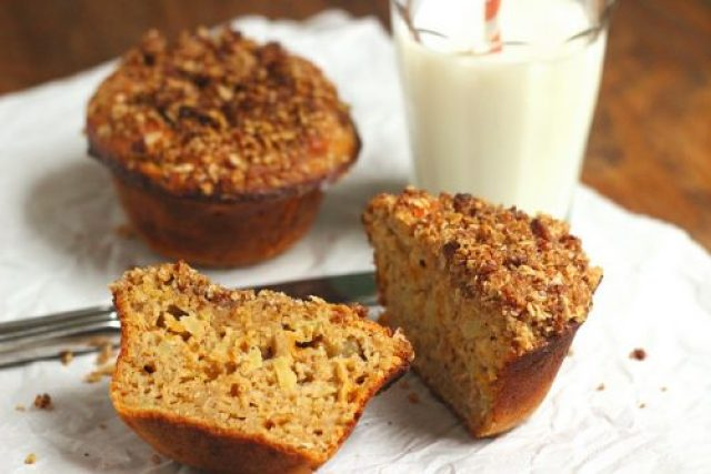 Oat, Cheddar & Apple Breakfast Muffins W/Bacon Streusel Topping|Craving Something Healthy
