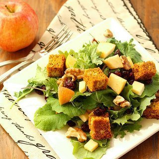 Harvest Salad with Baby Kale and Pumpkin Bread Croutons